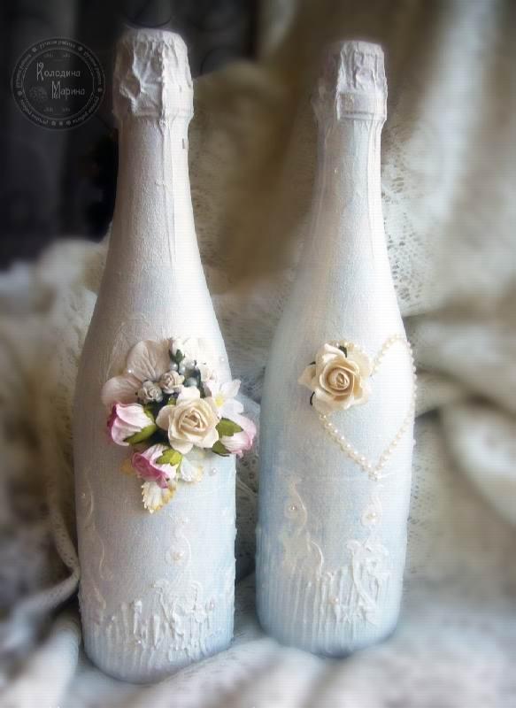 Мастер-класс по украшению шампанского на свадьбу-8