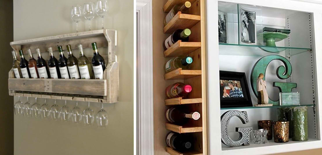 Самодельные полки для хранения вина